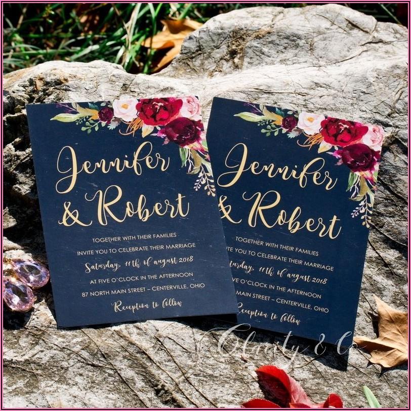 Burgundy And Blush Pink Wedding Invitations