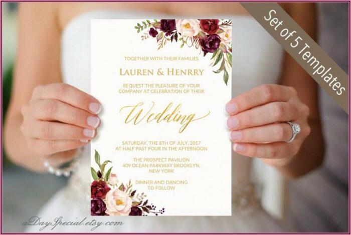 Burgundy And Gold Wedding Invitation Templates