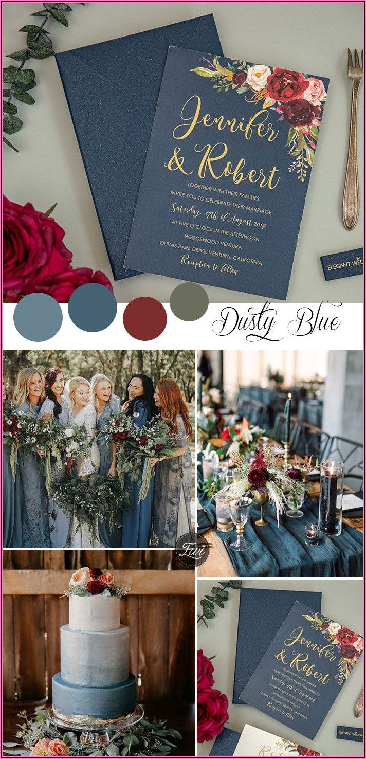 Burgundy And Navy Floral Wedding Invitations