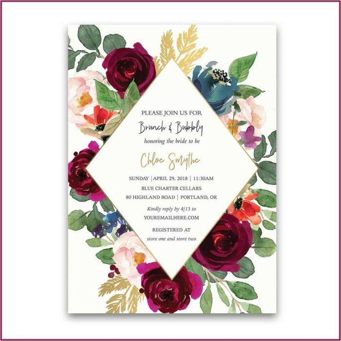 Burgundy Blush And Gold Wedding Invitations