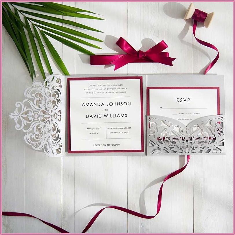 Burgundy Laser Cut Pocket Wedding Invitations