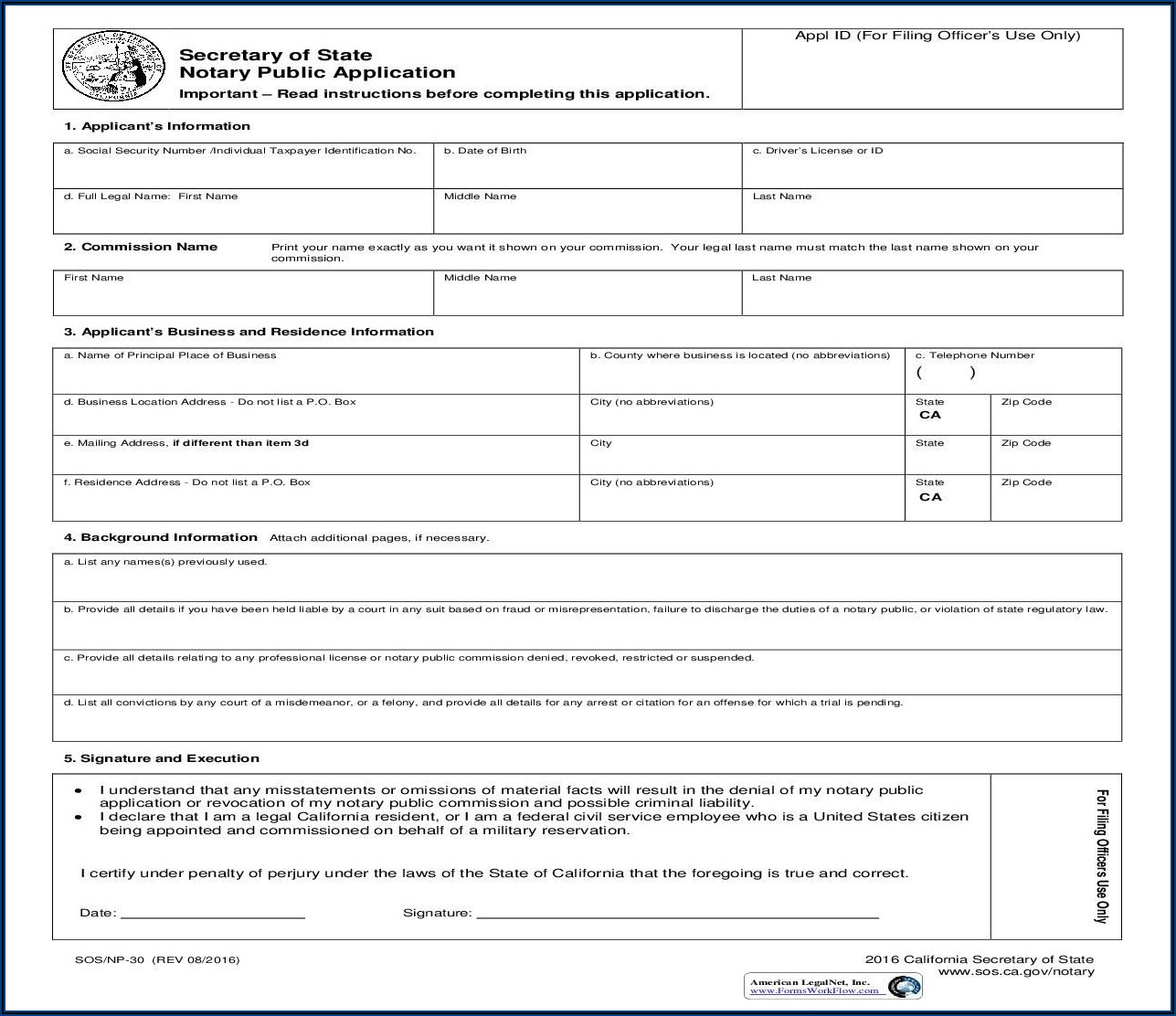 Ca Sos Notary Forms
