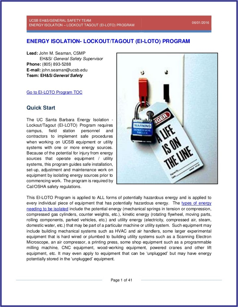 Cal Osha Lock Out Tag Out Procedure Template