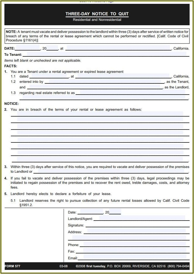 California 3 Day Notice To Quit Form Pdf