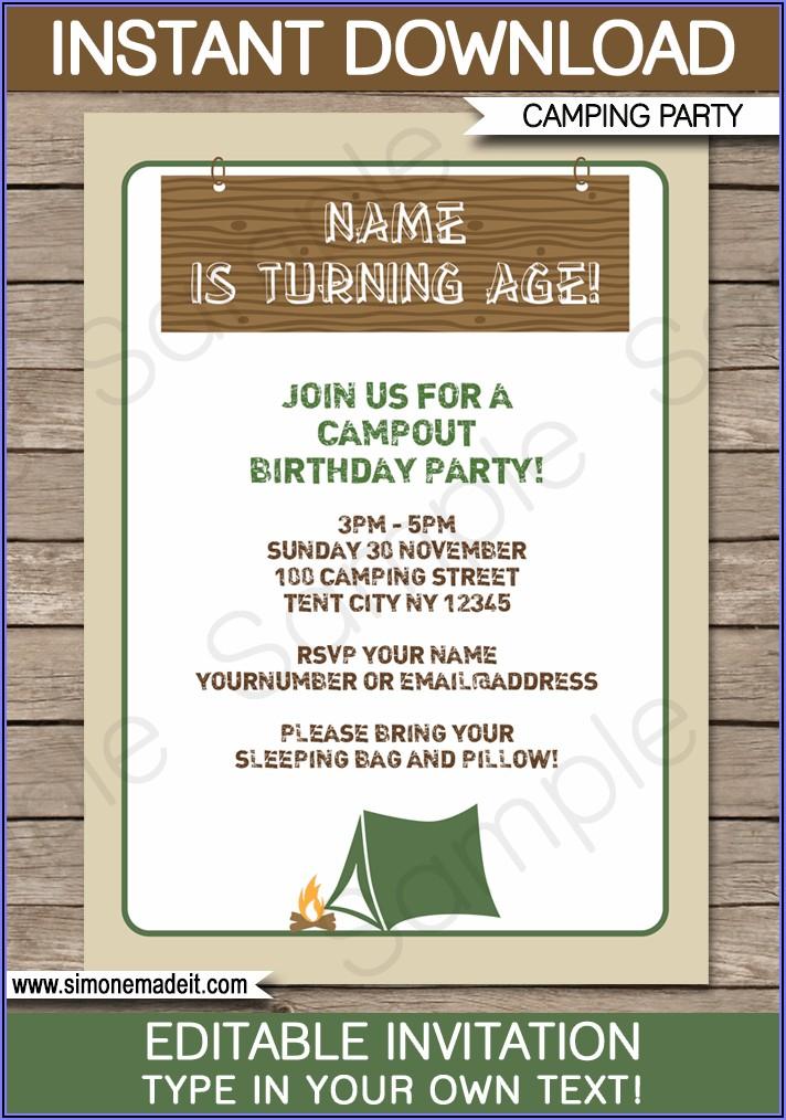 Camping Themed Birthday Invitation Template