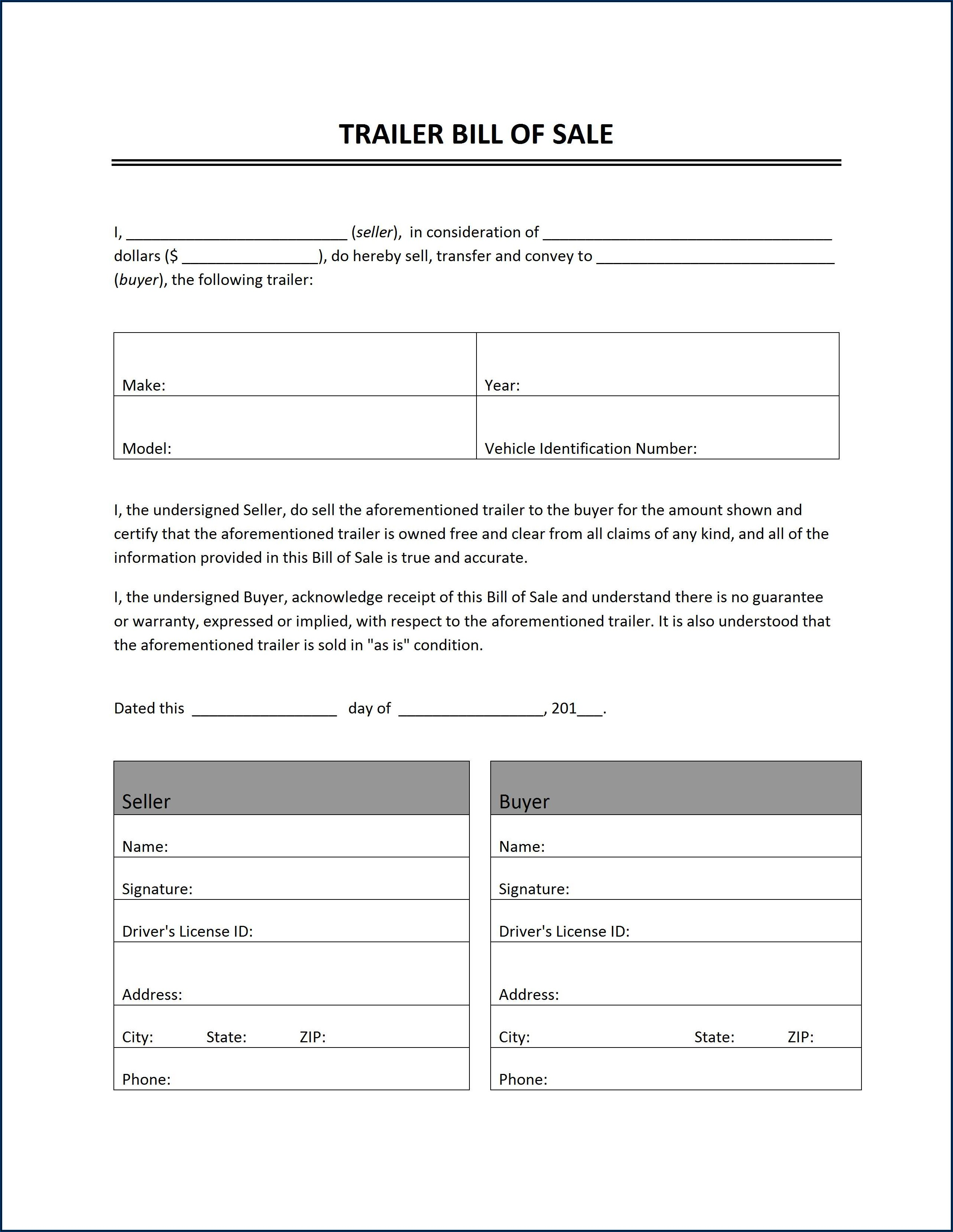 Car Bill Of Sale Form Free Printable