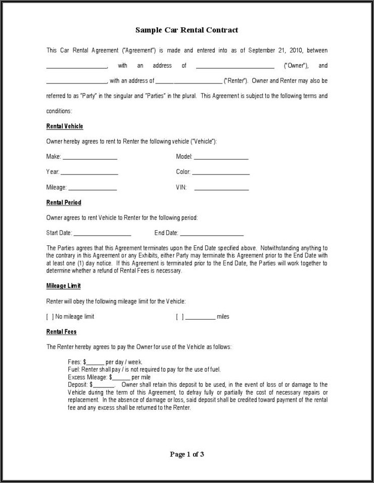Car Renting Contract Sample