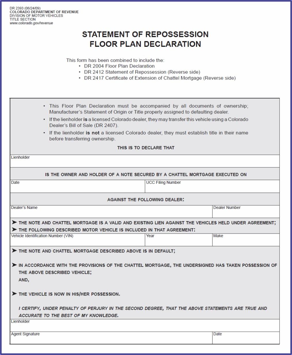 Chattel Mortgage Form Colorado