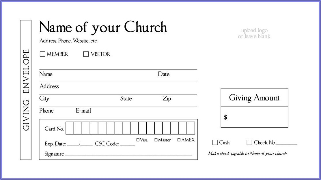 Church Tithes And Offering Envelopes Templates