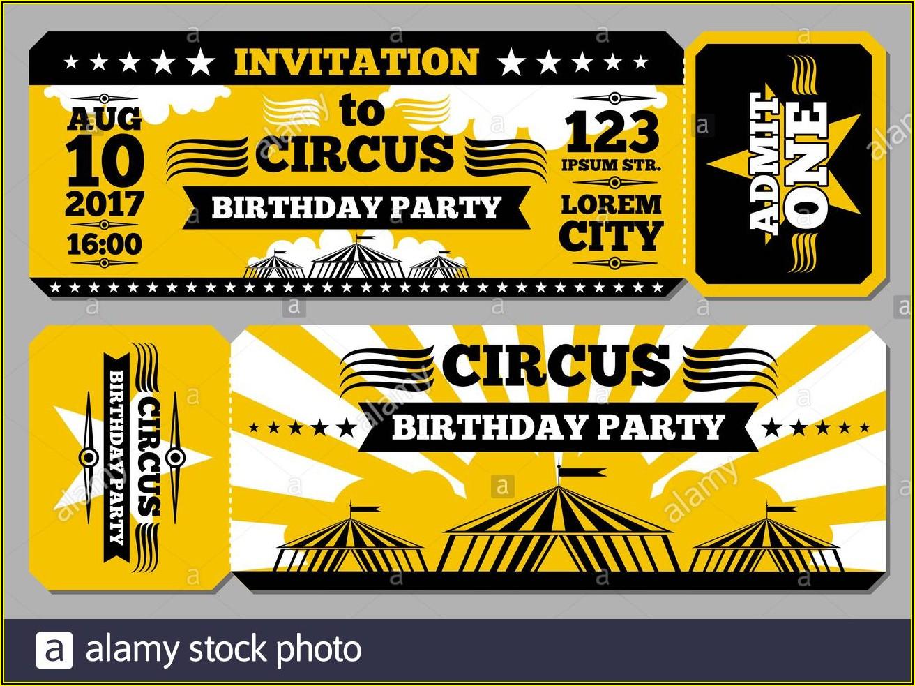 Circus Ticket Invitation Template