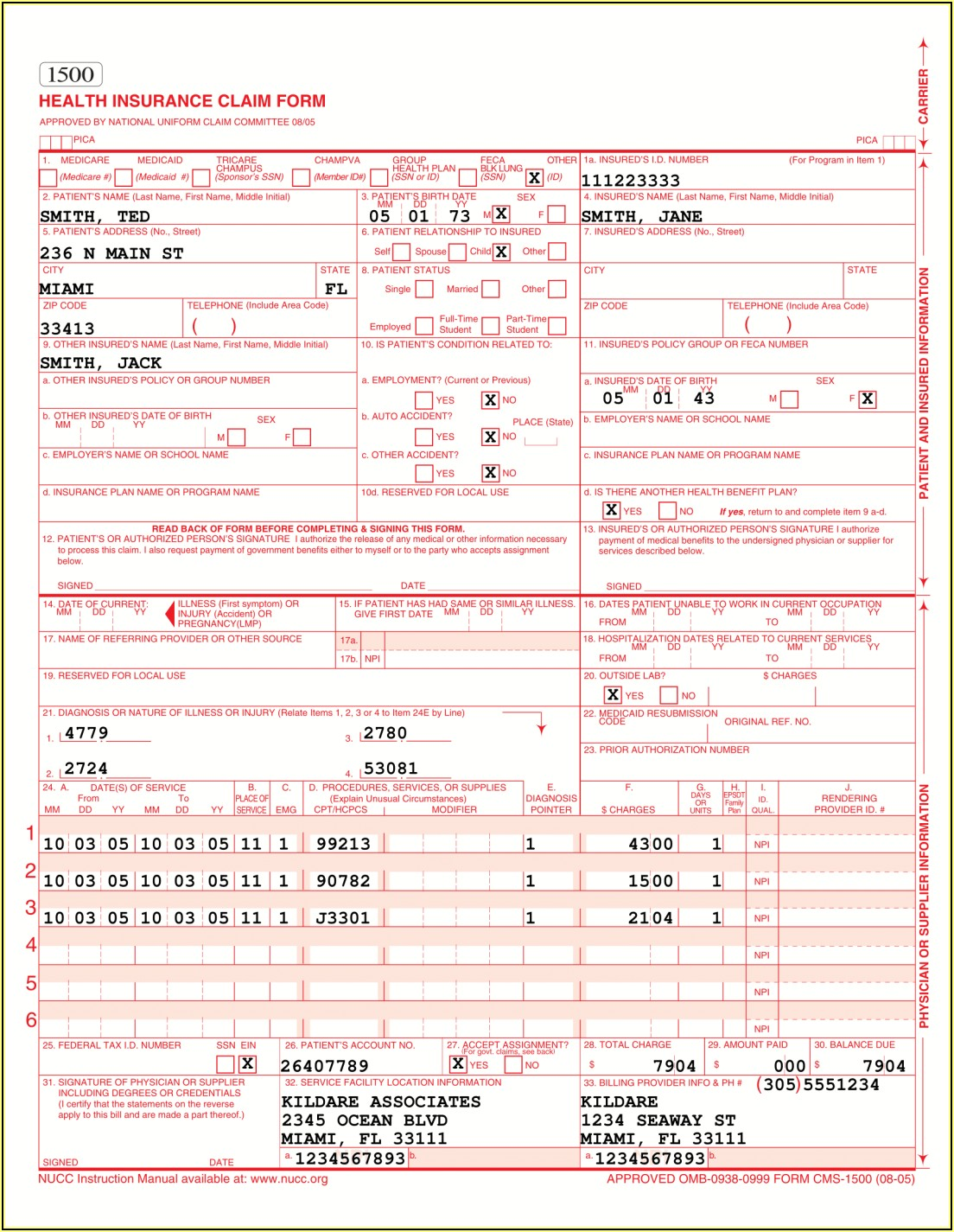 Cms 1500 Form Sample Completed