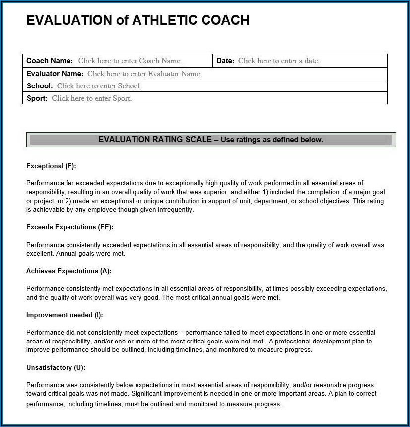 Coaching Feedback Form Examples