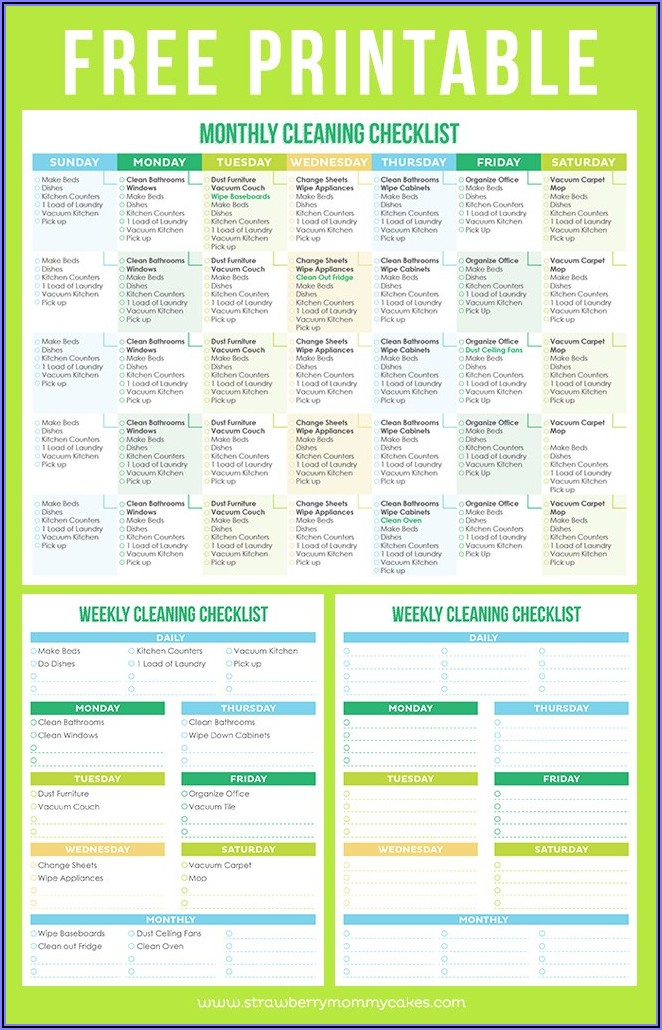 Commercial Cleaning Checklist Template Free