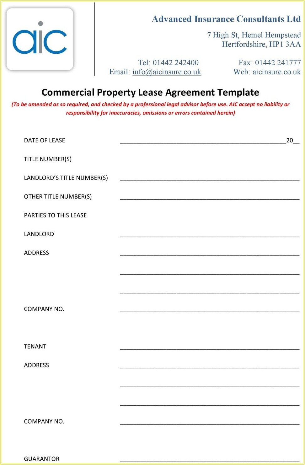 Commercial Lease Agreement Pdf Download