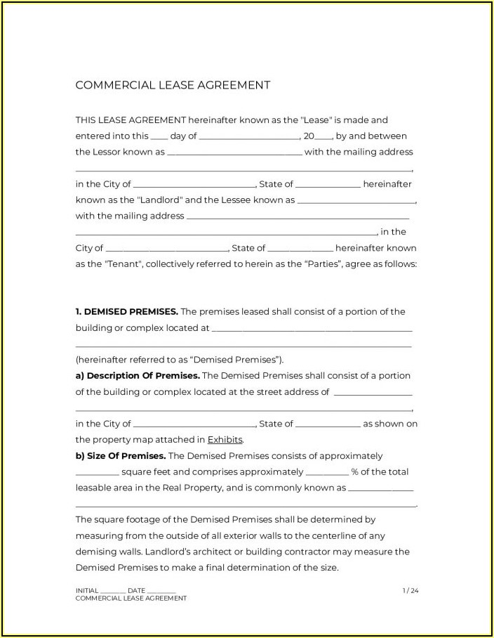 Commercial Lease Agreement Pdf India
