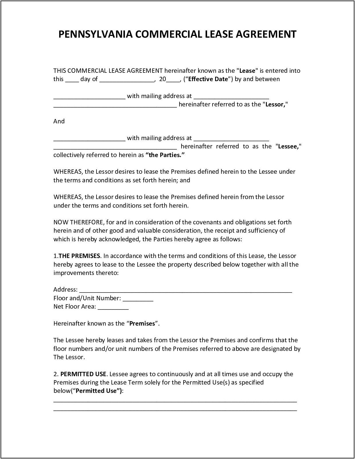 Commercial Lease Agreement Pdf Pennsylvania
