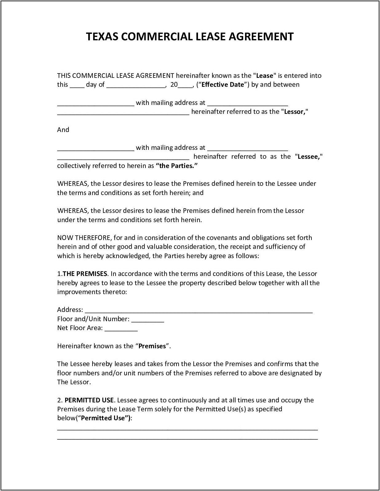 Commercial Lease Agreement Pdf Texas