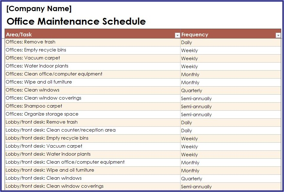 Commercial Office Cleaning Checklist Template