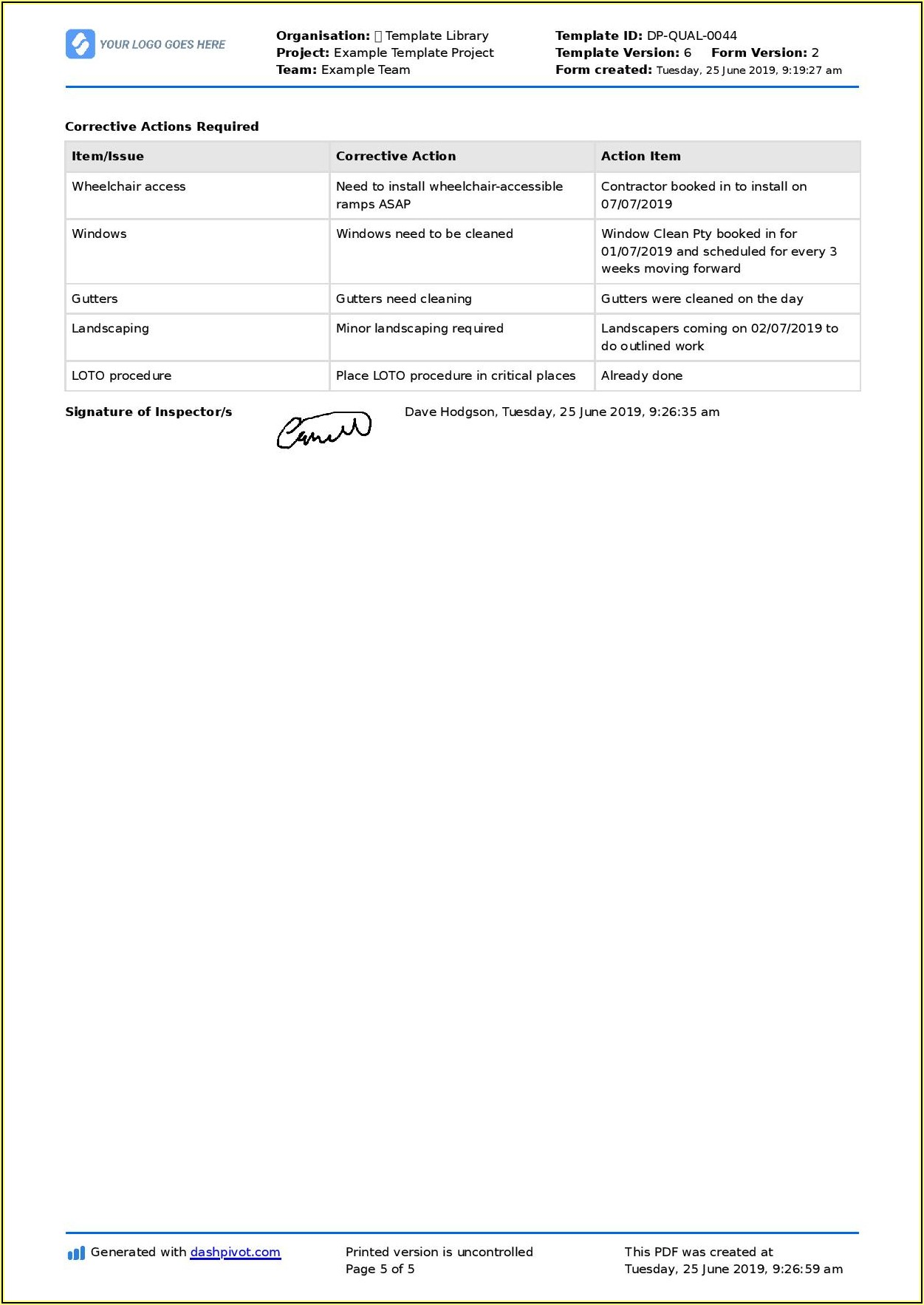 Commercial Property Inspection Checklist Template