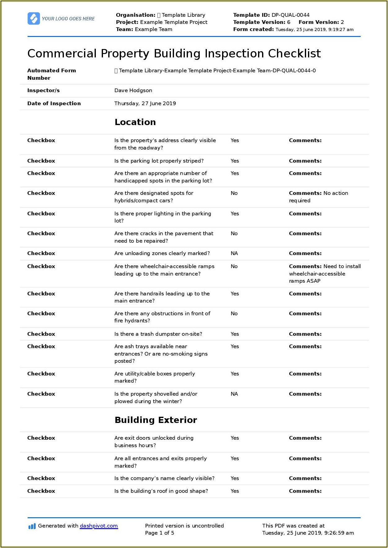 Commercial Property Inspection Report Template Word