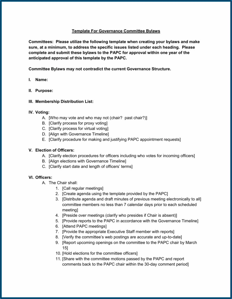 Committee Bylaws Template