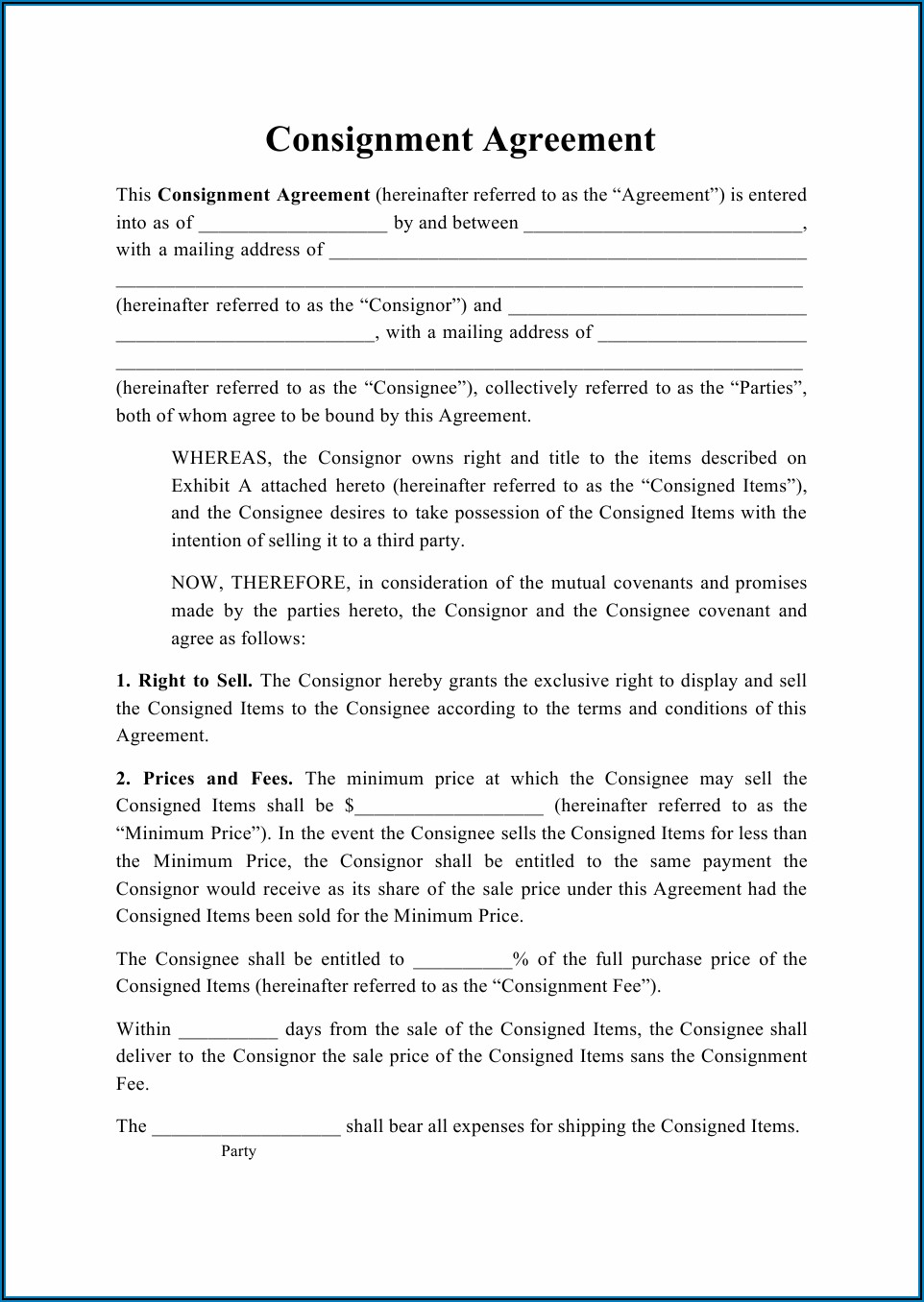 Consignor Agreement Template