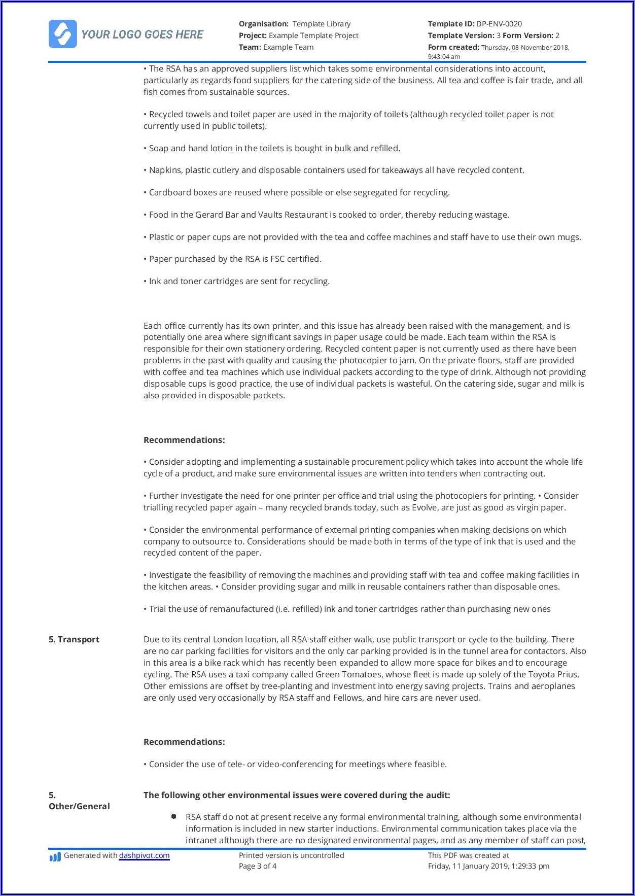 Construction Health And Safety Audit Report Template