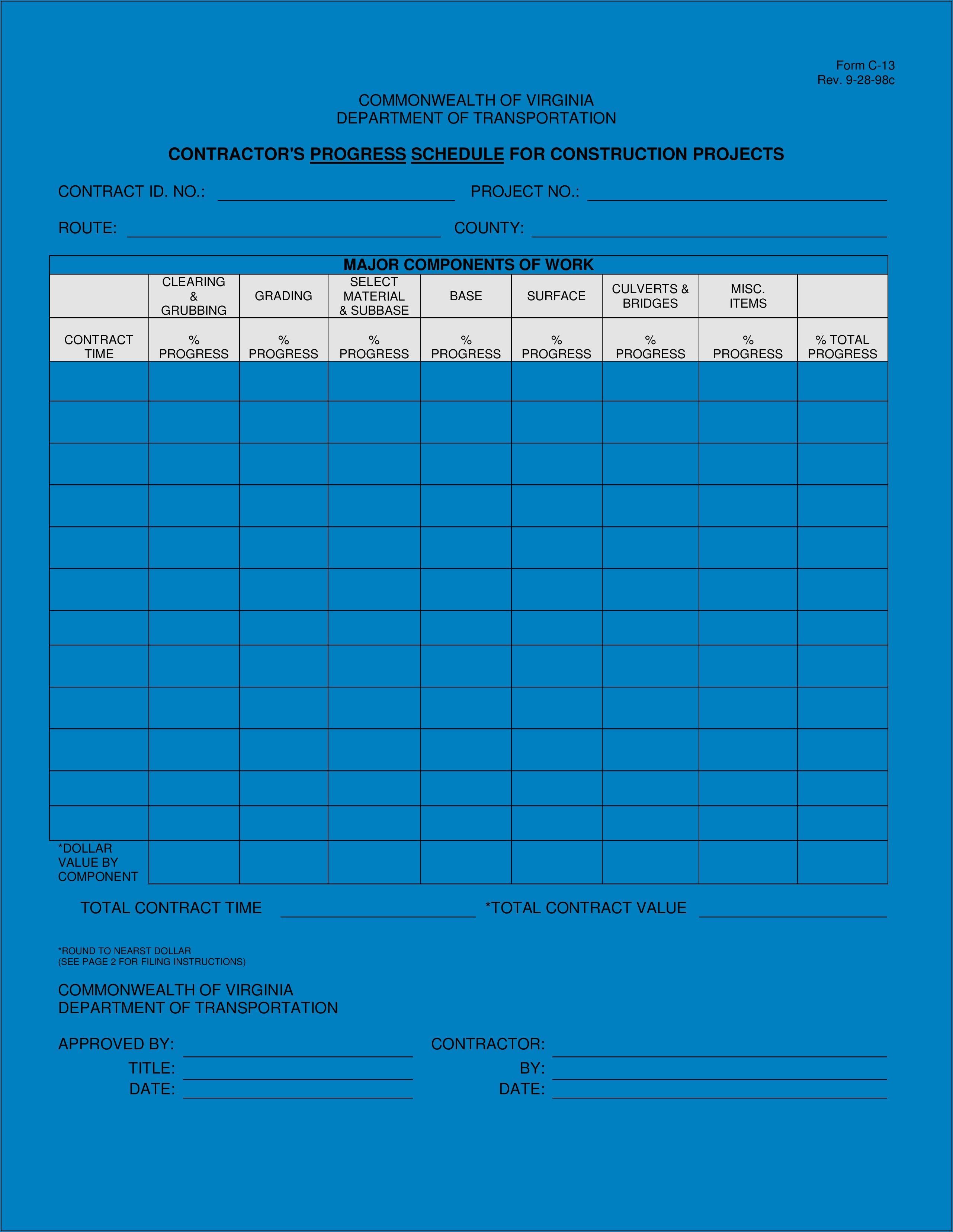 Construction Work Schedule Template Download