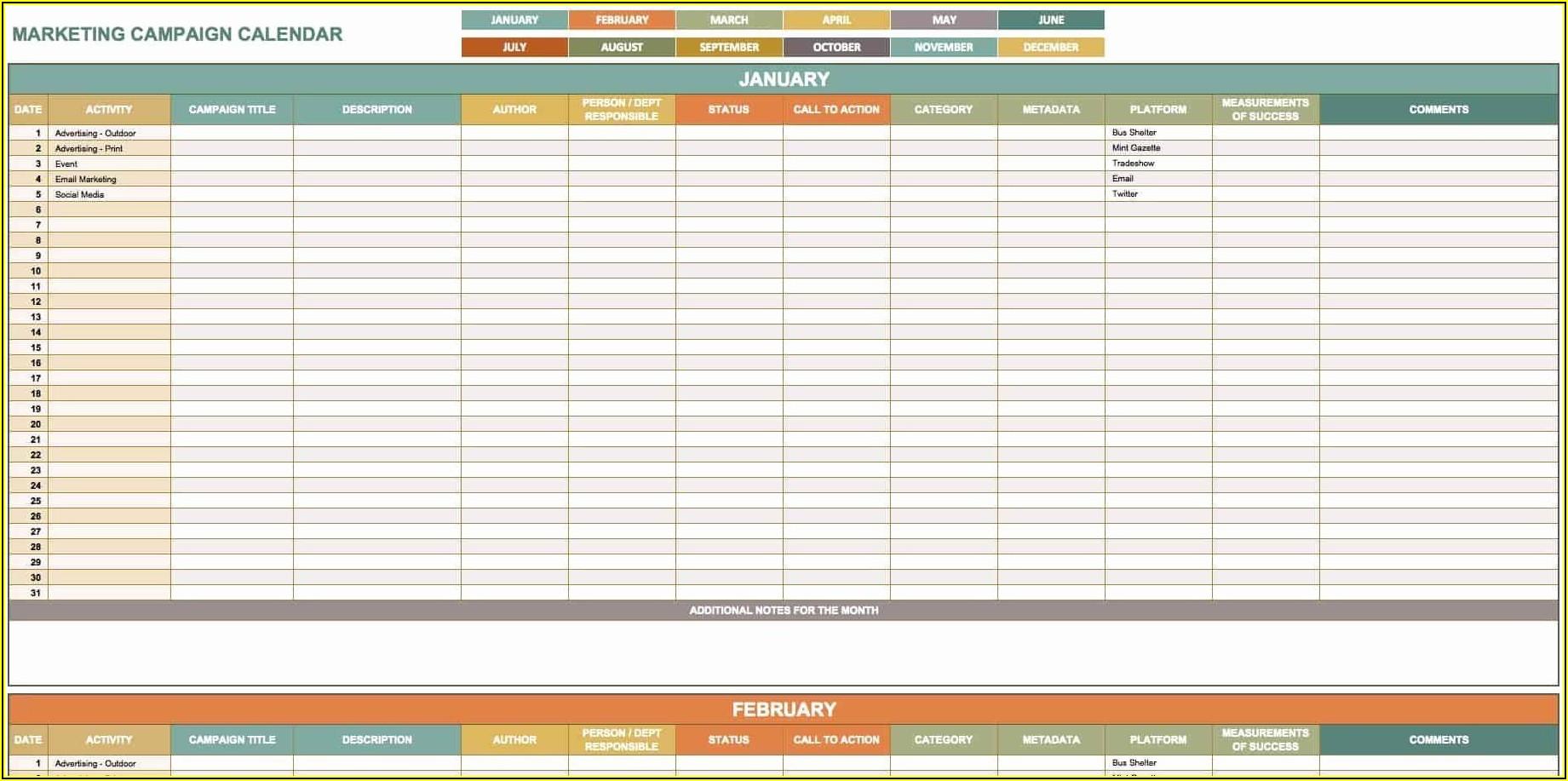 Content Marketing Calendar Template Free