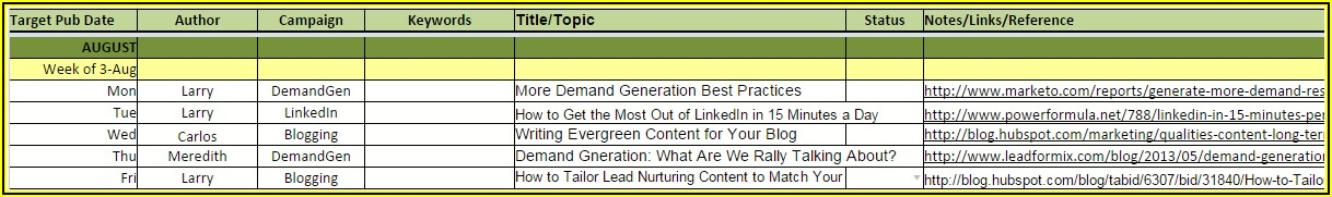 Content Marketing Editorial Calendar Template Free