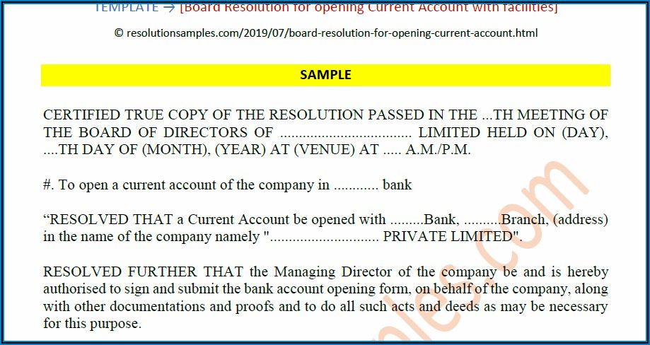 Corporate Banking Resolution Sample