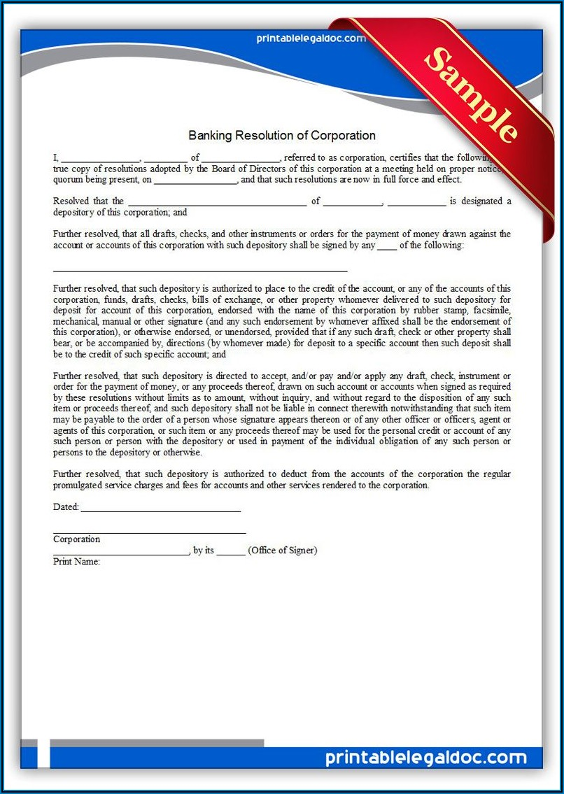 Corporate Banking Resolution Template