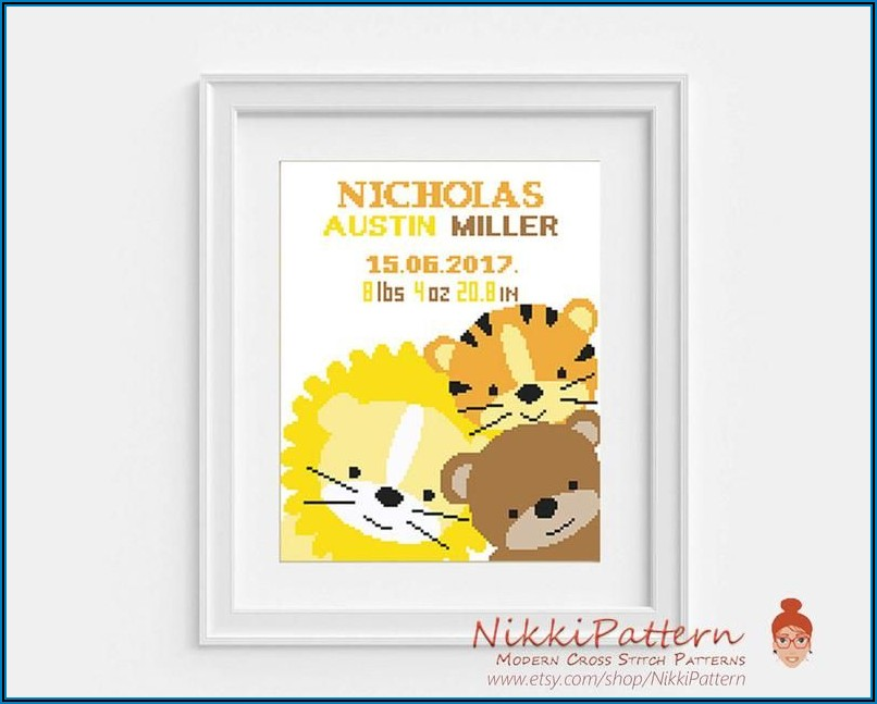 Counted Cross Stitch Elephant Birth Announcement