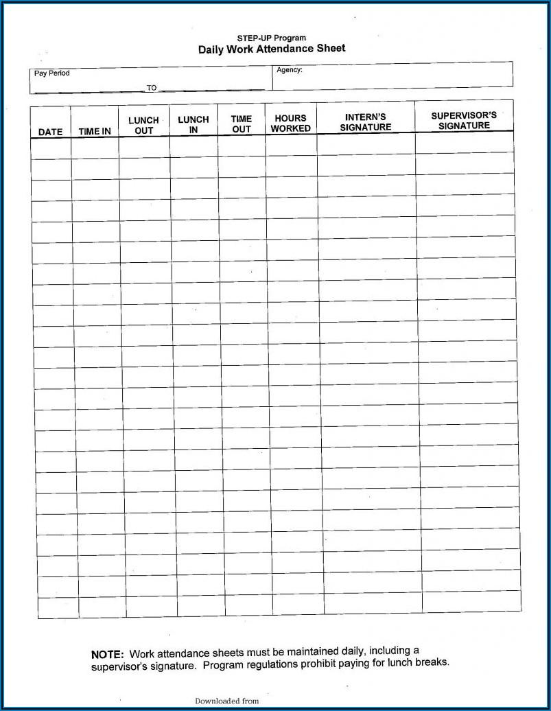 Daily Attendance Sheet Format