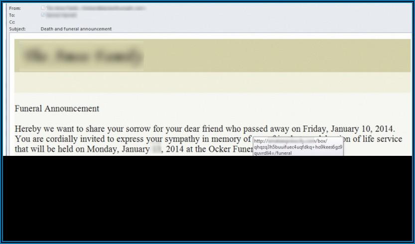 Death Announcement Email Format