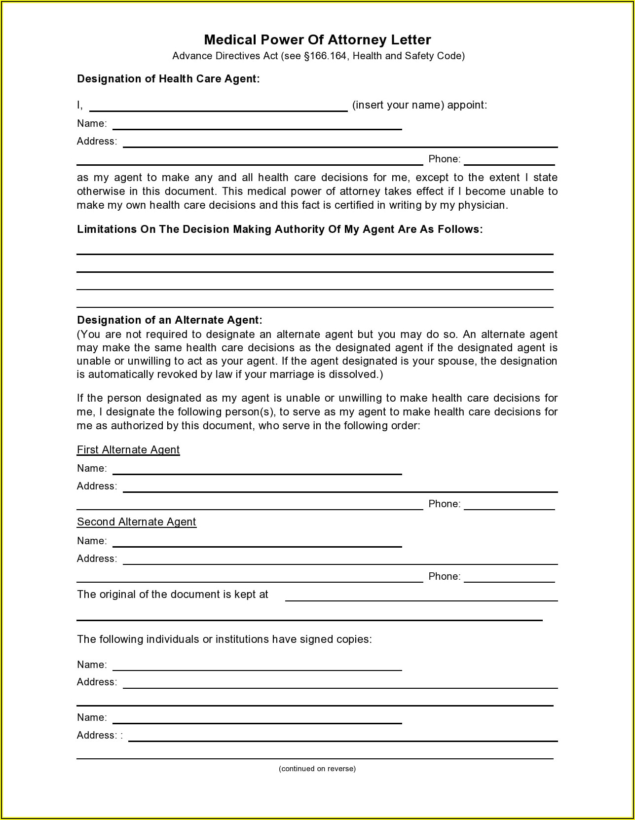 Durable Power Of Attorney Template South Africa