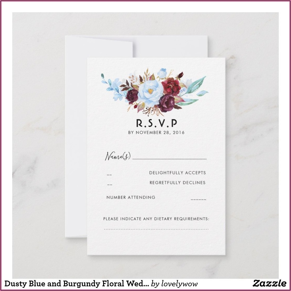 Dusty Blue And Burgundy Wedding Invitations