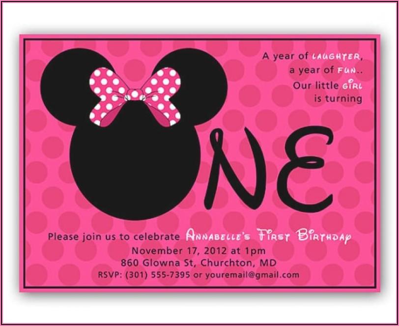 Editable Minnie Mouse 1st Birthday Invitations