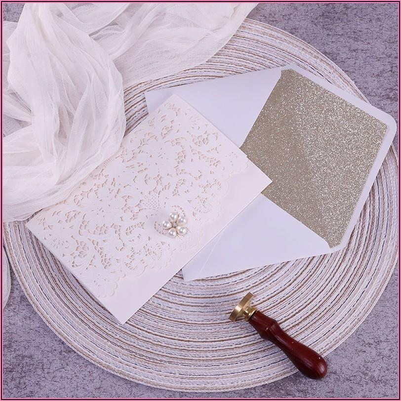 Elegant Gold And Ivory Wedding Invitations