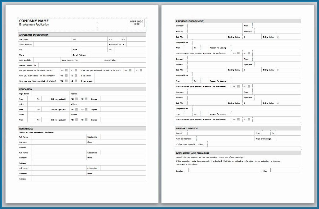 Employee Application Template Free