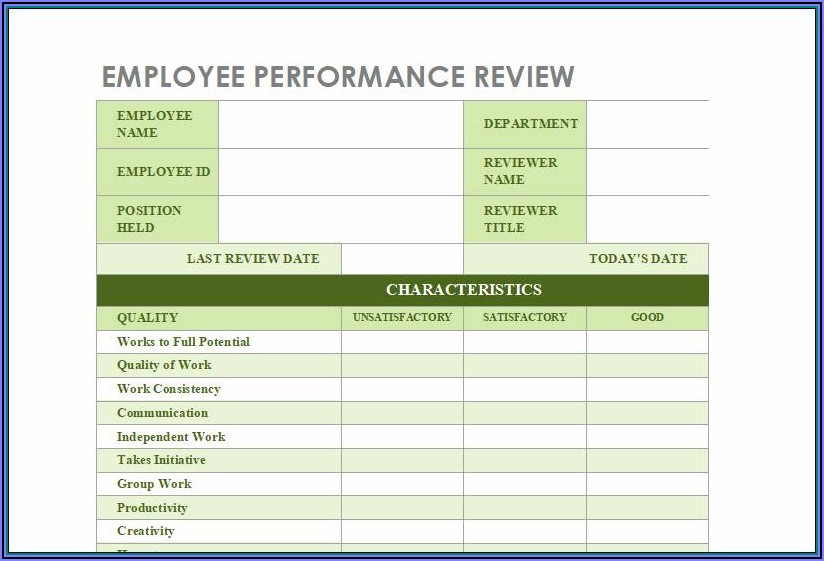 Employee Evaluation Form Excel