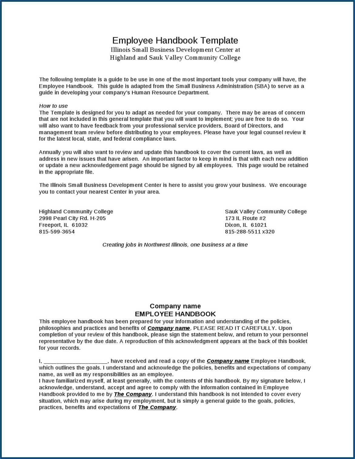 Employee Handbook Sample For Small Business