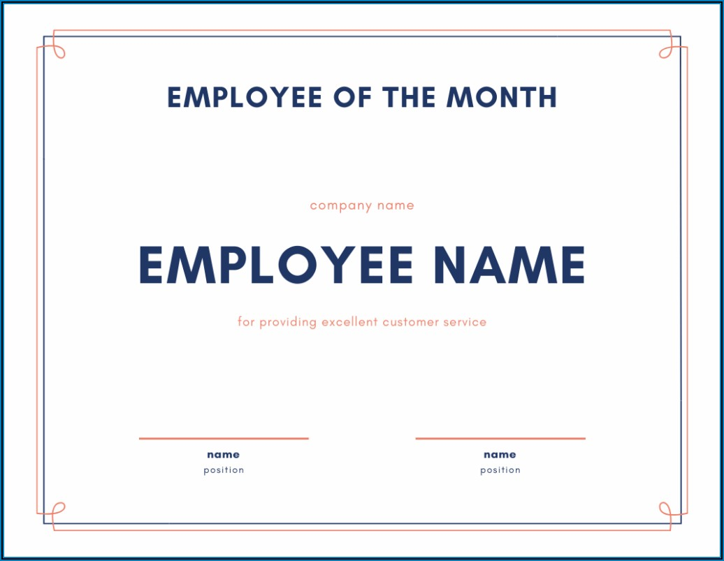 Employee Years Of Service Recognition Certificate Template