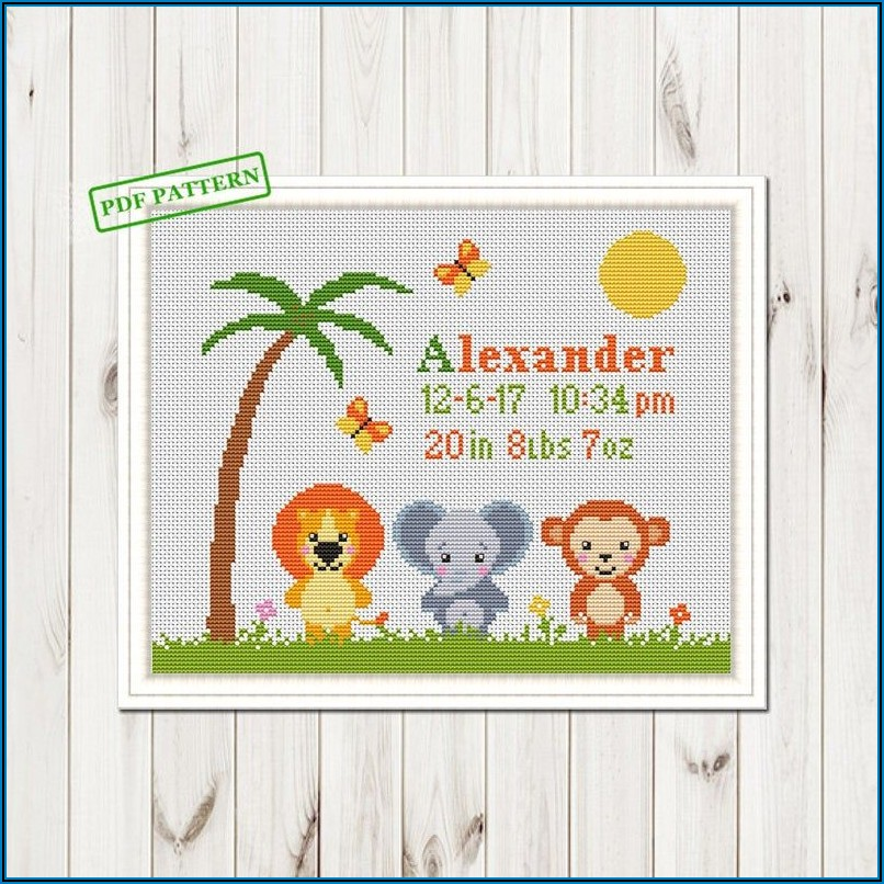 Etsy Baby Announcement Cross Stitch