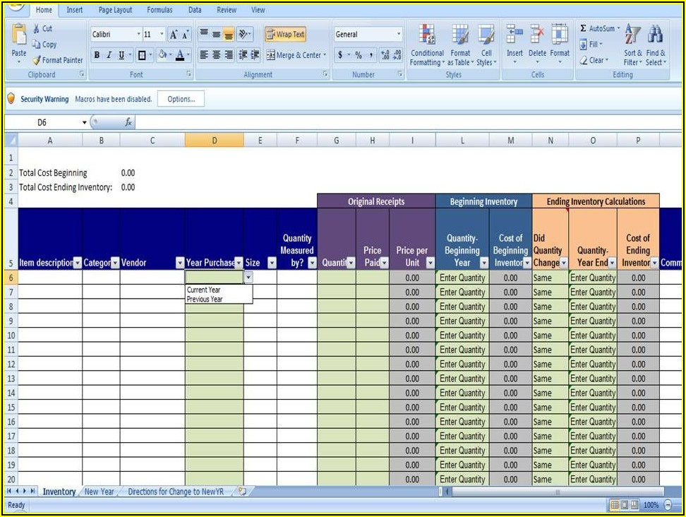 Excel Inventory Tracking Spreadsheet Template