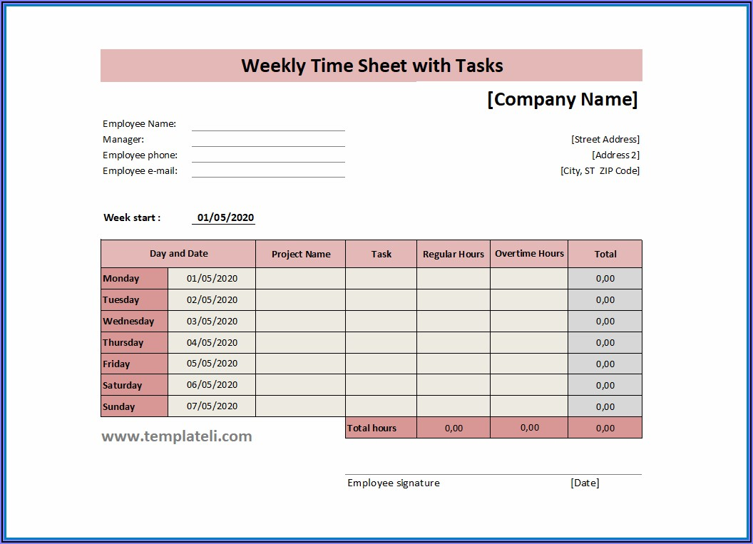 Excel Timesheet Template With Tasks