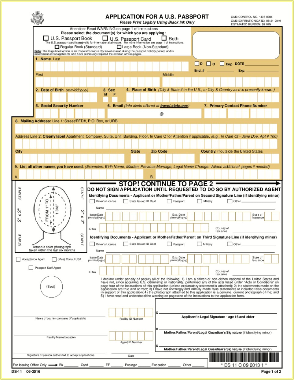 Fill Out Passport Form Ds 11 Online
