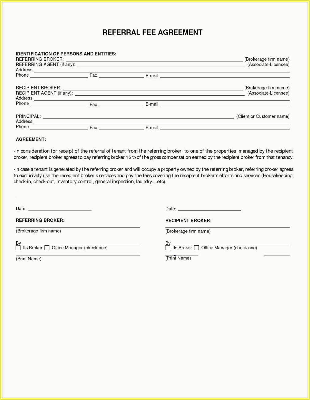 Finder's Fee Agreement Template Free