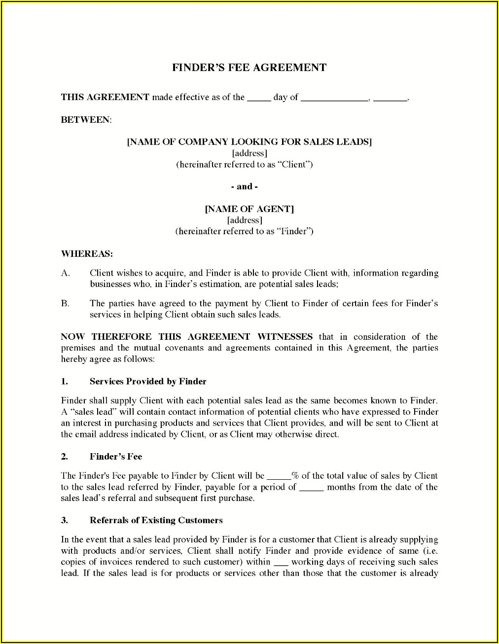 Finder's Fee Commission Agreement Template