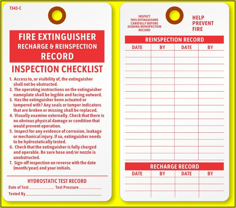 Fire Extinguisher Inspection Tag Word Format